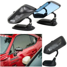 1 Pair Carbon Fiber Look Universal Car Adjustable Metal Bracket Blue Side Mirror