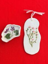 Vintage Collector'S Art Guild Pottery Thyme Plaque & Violet Bowl Dish Set ��sj3j