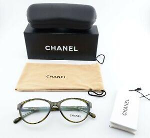 CHANEL Brille 3247 Q c1394 52[]16 135 Green Pattern Eye Frame Leather 2012 +Case