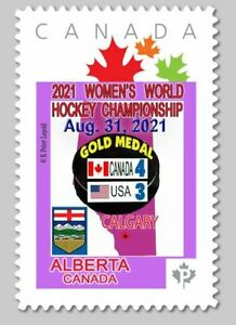 2021 IIHF World Women's Hockey Cup in Calgary PANDEMIC GAME -  Picture Postage