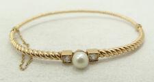 Beautiful 14K Yellow Gold .30 CTW Diamond & Pearl Hinge Bangle Bracelet A6325
