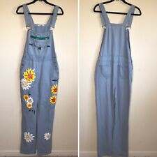 Rare Mislook Yellow White Floral Denim Blue Jean Overalls XL
