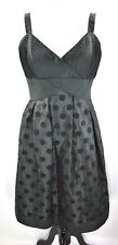 Eliza J New York Satin Green W/ Black Polka Dot Sleeveless Dress Lined Size 12