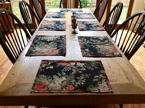 """NEW 8 Placemats & 8 Napkins April Cornell """"Merry Black"""" Set of 16"""