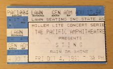 1991 Sting The Soul Cages Tour Costa Mesa Concert Ticket Stub Police Roxanne A