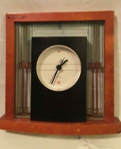 Frank Lloyd Wright Table Clock by Bulova  Art Deco Wood
