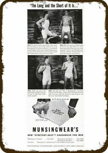 1941 MUNSINGWEAR Men's Underwear Vintage Look Metal Sign LONG & SHORT PHIL & BOB