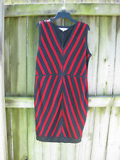 Exclusively Misook Sz L Black Red Acrylic Sleeveless Knitwear Dress NWOT