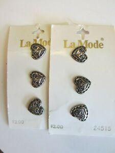 Six Vintage La Mode Buttons Antique Silver 12mm Heart #24515 2 cards