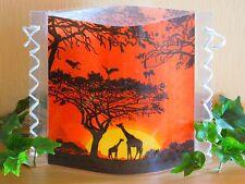 Tischlicht/Windlicht Giraffen in  Afrika- Savanne - Sonnenuntergang