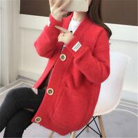 Women Chic Autumn Loose Knit Cardigan Korean V-neck Sweater Fashion Solid Jacket