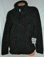 16f441f11bbb Victoria's Secret PINK Sherpa Quarter Zip Pullover Sweatshirt Black Leopard  M