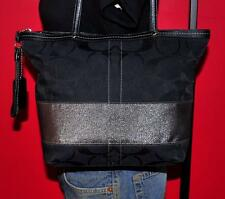 COACH Black Leather Metallic Signature STRIPE Tote Shoulder Purse Bag 12977