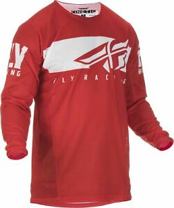 Fly 2019 Kinetic Shield MX Motocross Off Road Adult Jersey - Red / White
