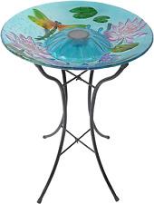 "3208900 Outdoor Dragonfly Fusion Glass Solar Bird Bath W/Metal Stand, 18"" Light"