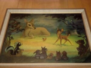 """DISNEY """"Bambi Meets His Forest Friends"""",1940's FRAMED MOVIE LITHOGRAPH  24""""X20"""""""