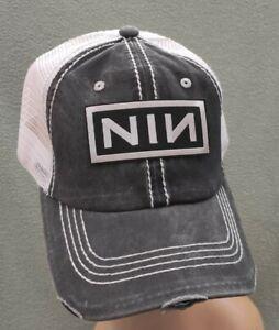 Nine Inch Nails Trucker Hat Distressed Black Stone Washed  & White Mesh NIN Hat