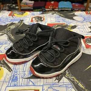 Nike Air Jordan 11 Retro XI TD Bred Black Red White 378040-061 Size 9C