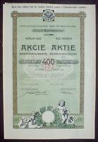 Bank für Brauindustrie 400 Kronen Prag 1920 unentwertet + Kuponbogen