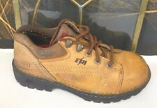 GIRLS  SKECHERS Brown LEATHER Oxford Shoes AUTHENTIC 8 STYLE F01 STEEL TOE