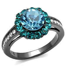 Sea Blue Top Grade Crystal Stone Light Black EP Ladies Ring