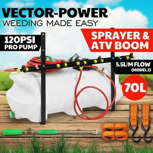 70L ATV Weed Sprayer Spot Boom Spray Water Tank Chemical Garden Farm 12V Pump