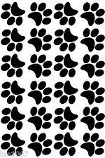 "BLACK PAW PRINTS - QTY 24 x 3"" - VINYL WALL DECAL / STICKER DOG / CAT"