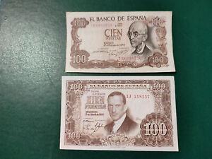 Spain 2 Banknote 100 Pesetas 1953-1970 !!!!!!!