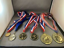 (9) Participation Medals Various Sizes 2 are Engraved with Lanyards