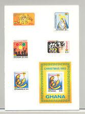 Ghana #852-857 Christmas 4v & 1v S/S Imperf Proofs Mounted in Folder