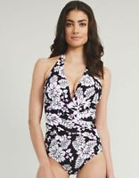 Figleaves Violet Ladies Shaping Halterneck Swimsuit Costume Floral Size 8 NEW