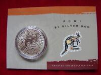 AUSTRALIA  2001  $1 Kangaroo -  1oz  Silver Coin....UNC  in card