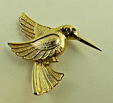 VINTAGE GOLD TONE HUMMINGBIRD PIN BROOCH RUBY RHINESTONE EYE