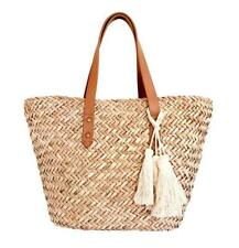 BEACH'D Mini Natural Straw Beach Bag Tote Women Washable Liner Leather Handle