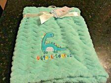 "new Baby ~Plush Blanket~Aqua Blue zig zag Appliqued Dinosaur~ 30"" x 40"""