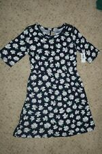 NWT Old Navy Girls Short Sleeve Fit & Flare Navy Floral Dress Size L (10-12)