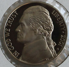 2001 PROOF Jefferson Nickel from US Mint Proof Set 5c Five Cent Coin Made in USA