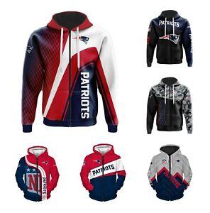 New England Patriots Fans Hoodie Zip Up Sweatshirt Casual Jacket Sportwear Gift