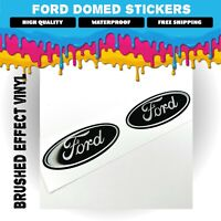 2x Ford Brushed Effect Alloy Wheel Stickers Decals Badge GLOSS DOMED GEL