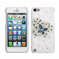 Asmyna Blue-Dot Butterfly 3D Diamante Back Protector Cover for iPod touch 5