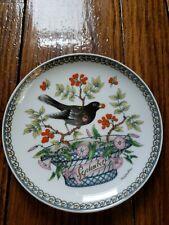 "BLACKBIRD HUTSCHENREUTHER PLATE W/ BIRD, FLORAL SEPTEMBER 6 1/4"""