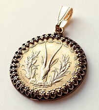Antelope Coin Jewelry, Western Africa Coin Pendant, Gold Antelope Coin, African
