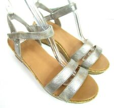 UGG Girls J4 Wedge Sandals Shoes Metallic Silver Ankle Strap Cork Party Wedding