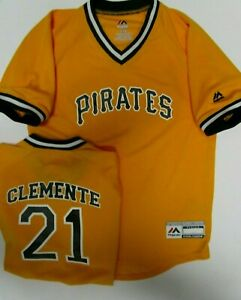 ROBERTO CLEMENTE PIRATES YOUTH MED LARGE MLB DRI FIT JERSEY SHIRT NEW