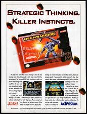 MECHWARRIOR__Original 1993 Print AD / Nintendo game promo__Super NES__Activision