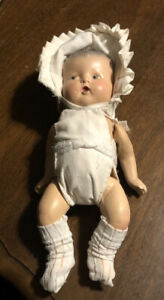 """Vintage Composition Baby Doll 10"""" Tall Metal Connectors Outfit Baby Infant"""