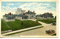 City Hospital Building-Car-Auto-Youngstown-Ohio-Vintage W/B Postcard