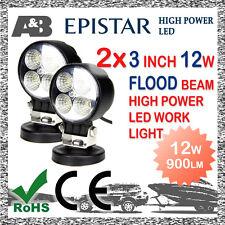 "2x A&B 3"" 12W 4-LED WORK LIGHT FLOOD OFF ROAD LED WORK LAMP 9-32V ROUND"