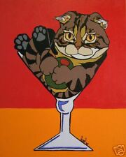 11X14 Scottish Fold in Martini Glass Cat Art Print Vern