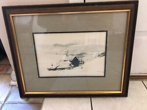 Framed and signed lithograph by Andrew Wyeth